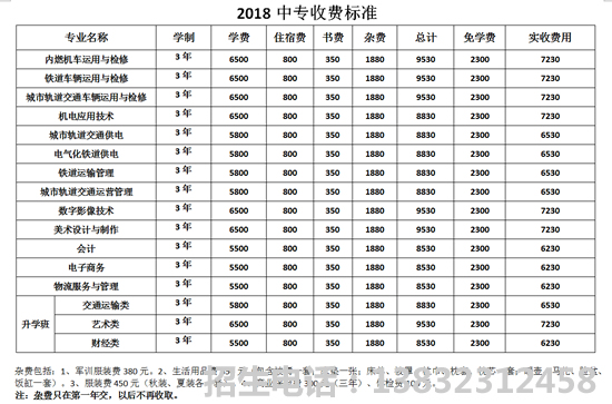 石家庄东华铁路学校2019年收费标准